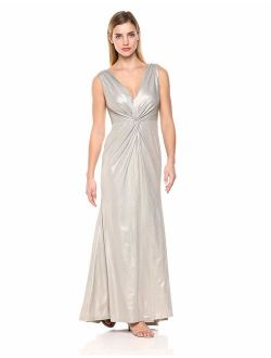 Women's Sleeveless Metallic Gown With Twist Knot Front