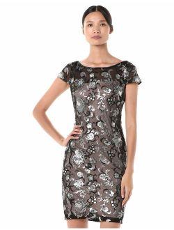 Women's Cap Sleeve Sequin Sheath Dress