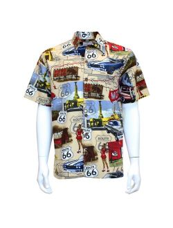 David Carey Chevy Route 66 Camp Shirt - Retro Inspired - Button Up Collared Short Sleeve Tan Club Shirt