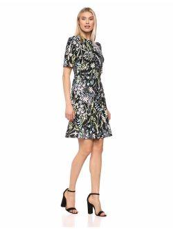 Women's Printed Dress With Flare Hem