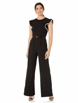 Women's Belted Jumpsuit With Flutter Sleeves