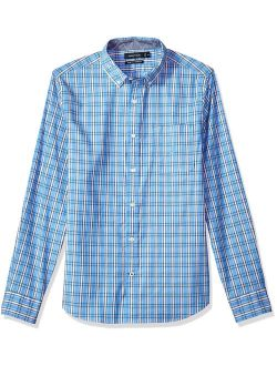 Long Sleeve Plaid Stretch Slim Fit Button Down Shirt