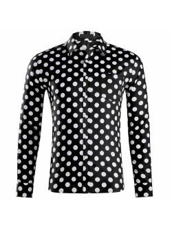 TOSKIP Men's Casual Dress Cotton Polka Dots Long Sleeve Fitted Button Down Shirts