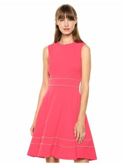 Women's Sleeveless Round Neck Fit And Flare Dress With Embellishment