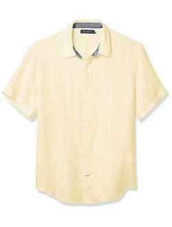 Men's Short Sleeve Classic Fit Solid Linen Button Down Shirt