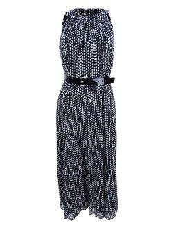 Women's Belted Long Midi Dress