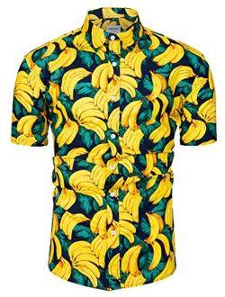 TUNEVUSE Mens Hawaiian Shirt Casual Floral Print Short Sleeve Button Down Shirt Cotton