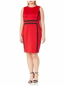 Women's Plus Size Sleeveless Color Block Sheath Dress