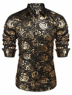 Men's Rose Shiny Silk Shirt Luxury Flowered Printed Button Down Shirt