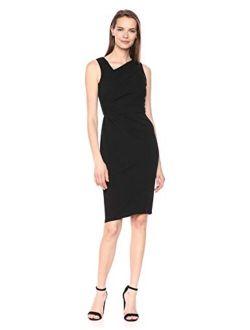 Women's Sleeveless Sheath With Asymmetric Neckline Dress