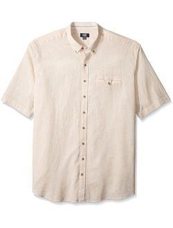 Men's Big And Tall Short Sleeve Cove Stripe Shirt, Khaki, 2x/tall