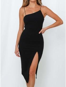 Clubwear for Women Sexy Backless Party Dress Bodycon Side Split Midi Dress