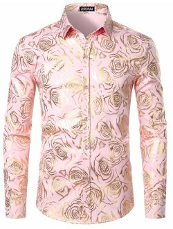 Men's Nightclub Rose Gold Shiny Flowered Printed Slim Fit Button Down Dress Shirts For Party