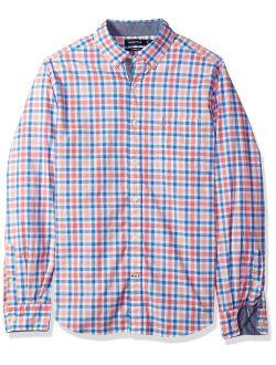 Men's Classic Fit Stretch Plaid Long Sleeve Button Down Shirt
