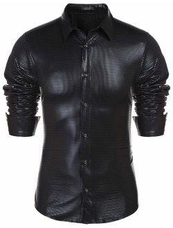 Men's Sequin Shiny Shirt Long Sleeve Button Down Shirt Disco Party Prom