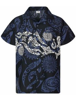 Hawaiian Shirt For Men Funky Casual Button Down Very Loud Shortsleeve Unisex Maori Chestprint