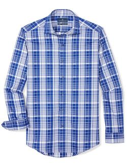 """BUTTONED DOWN Men's Tailored Fit Supima Cotton Spread-Collar Dress Casual Shirt, Navy/White Plaid, 16-16.5"""" Neck 34-35"""" Sleeve"""