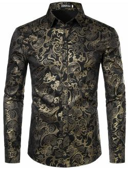 Men's Luxury Gold Prom Design Slim Fit Long Sleeve Button Up Party Dress Shirts