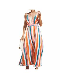 Milky Way Women Striped Dress Beach Sexy Backless Deep V Dress Fashion Slim Slip Casual Dress Colorful Striped Dress