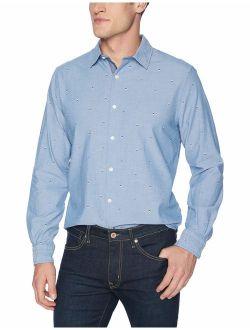 Men's Casual Signal Flag Print Classic Fit Button Down Shirt