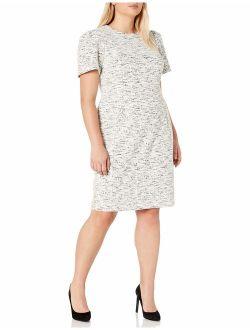 Women's Plus Size Short Sleeved Princess Seamed Sheath Dress