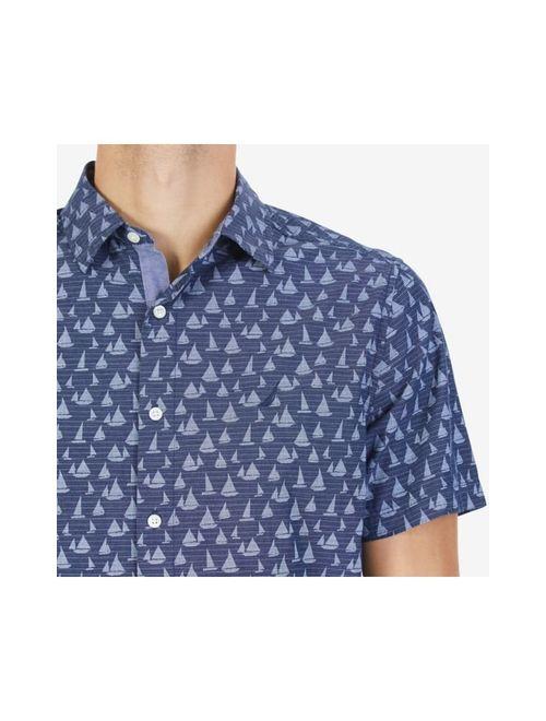 Nautica Men's Short Sleeve Signature Print Button Down Shirt