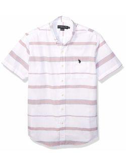 Men's Short Sleeve Horizontal Stripe Poplin Sport Shirt