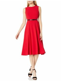 Women's Sleeveless Belted Midi Fit And Flare