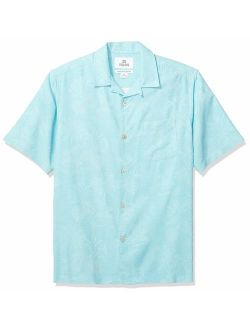 Rand - 28 Palms Men's Relaxed-fit 100% Textured Silk Tropical Leaves Jacquard Shirt