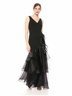 Women's Sleeveless V-neck Gown With Tiered Organza
