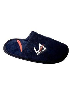 LA Gear Boys Slide Fleece Plush House Slippers (Small, Navy)