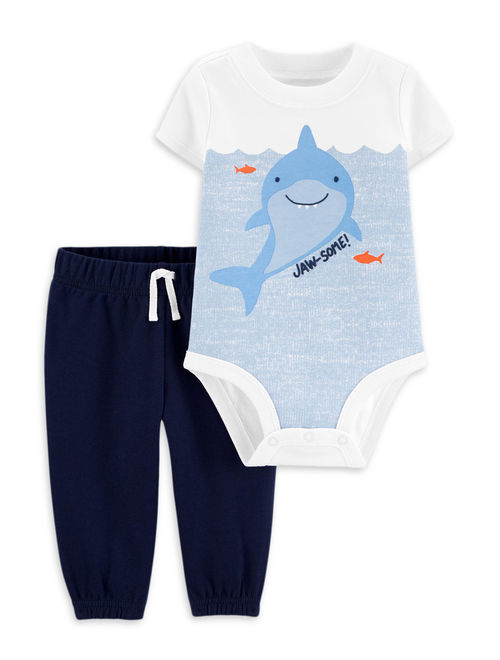 Child of Mine by Carter's Baby Boy Short Sleeve Bodysuit and Pant Outfit Set, 2 pc set