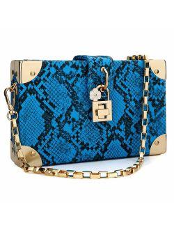 Womens Snakeskin Purse Snakeskin Handbag Ladies Snakeskin Clutch Neon Chain Bag
