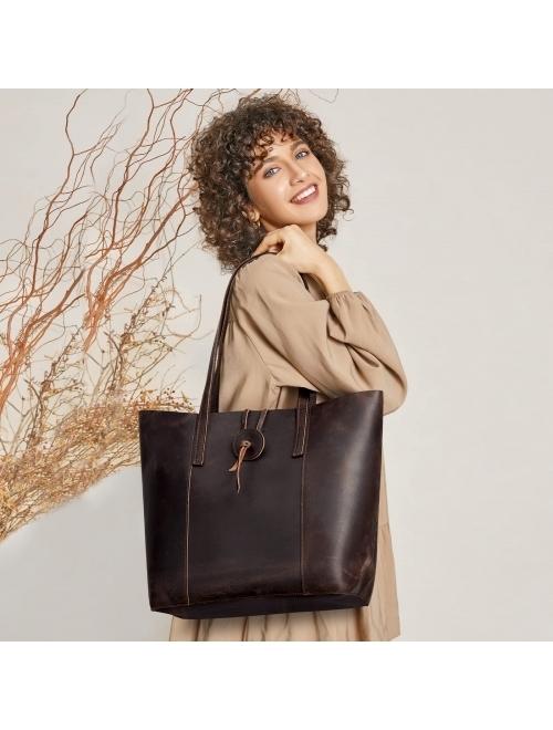 Womans Leather Tote Bag Pink Flower Soft Capacity Shoulder Handbag