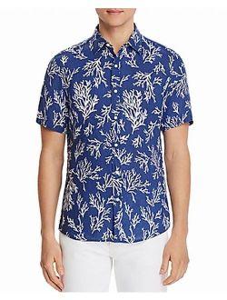 Mens Shirts Large Button-Front Coral-Print L