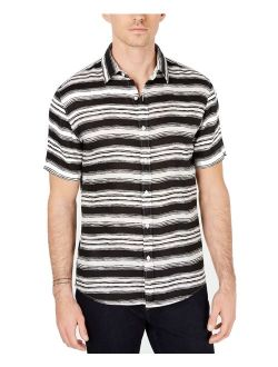 Mens Shirts White Small Button-Front Striped S