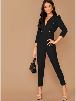 Notched Collar Double Breasted Jumpsuit