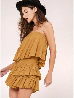 Strapless Tiered Layer Open Back Smocked Romper