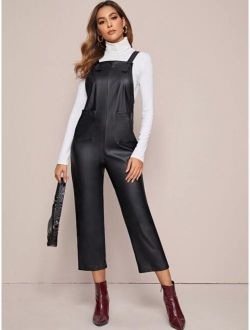 Pocket Front Faux Leather Pinafore Jumpsuit
