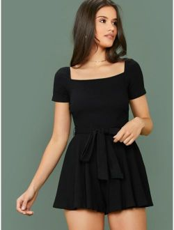 Square Neck Rib-knit Belted Wide Leg Romper