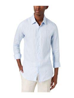 Mens Cross-dyed Linen Button Up Shirt.