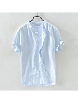 matoen Men's Baggy Cotton Linen Solid Short Sleeve Button Retro T Shirts Tops Blouse
