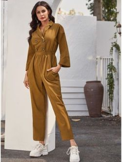 Notched Collar Double Breasted Shirt Jumpsuit