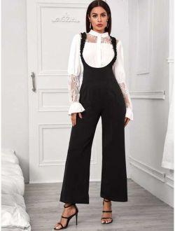 Frill Trim Pocket Side Suspender Jumpsuit