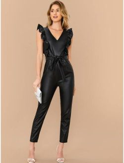 Ruffle Trim Faux Leather Belted Jumpsuit