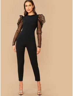 Sheer Mesh Gigot Sleeve Form Fitted Jumpsuit