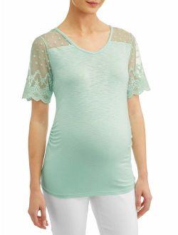 Liz Lange Maternity short sleeve top with lace yoke & sleeves