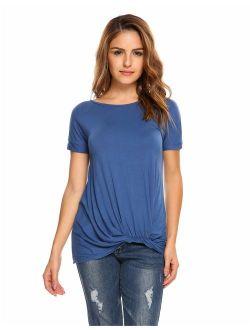 Women Raglan Short Sleeve Solid Irregular Hem T-shirt Ruched Loose Casual Tops HFON