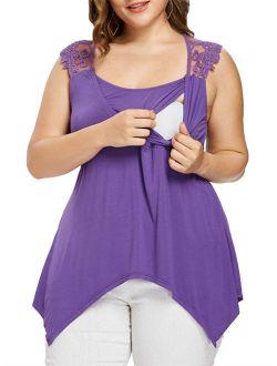 Maternity Irregular Hem Lace Patchwork Sleeveless Nursing Blouse Top