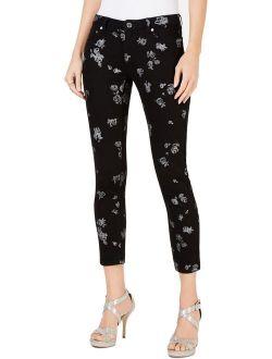 Ael Kors Womens Petites Izzy Denim Floral Skinny Jeans